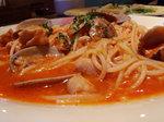 アサリと鶏肉のトマトソース スパゲッティ