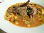 近海まぐろ尾の身のフリット トマトと黒オリーブたっぷり野菜のニース風スープ仕立て