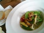 的鯛とヤリイカのポワレ アサリと野菜のスープ仕立て