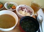 ベジタブルカレー、玄米・雑穀、お味噌汁、無農薬麦茶